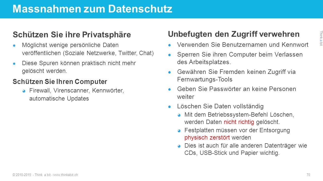 Massnahmen zum Datenschutz