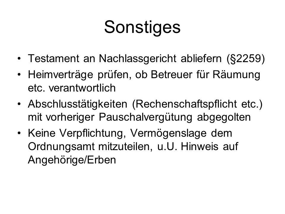 Sonstiges Testament an Nachlassgericht abliefern (§2259)