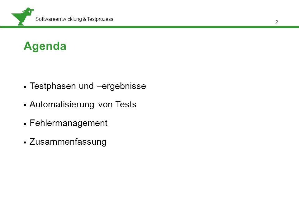 Agenda Testphasen und –ergebnisse Automatisierung von Tests