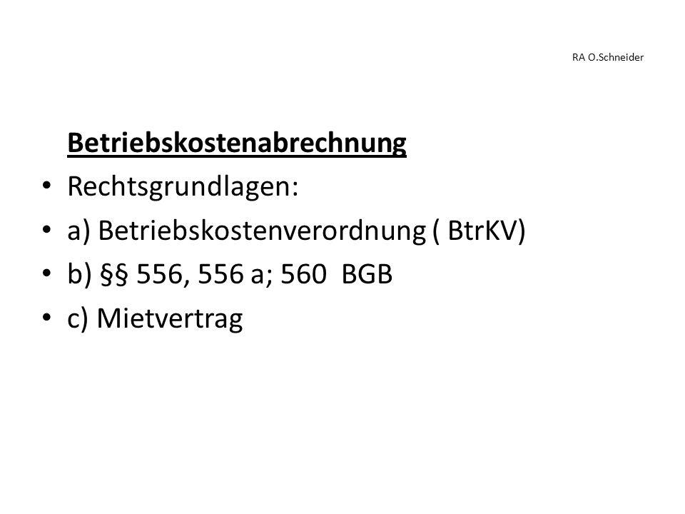 Betriebskostenabrechnung Rechtsgrundlagen: