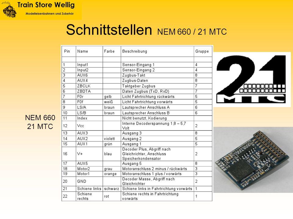 Schnittstellen NEM 660 / 21 MTC