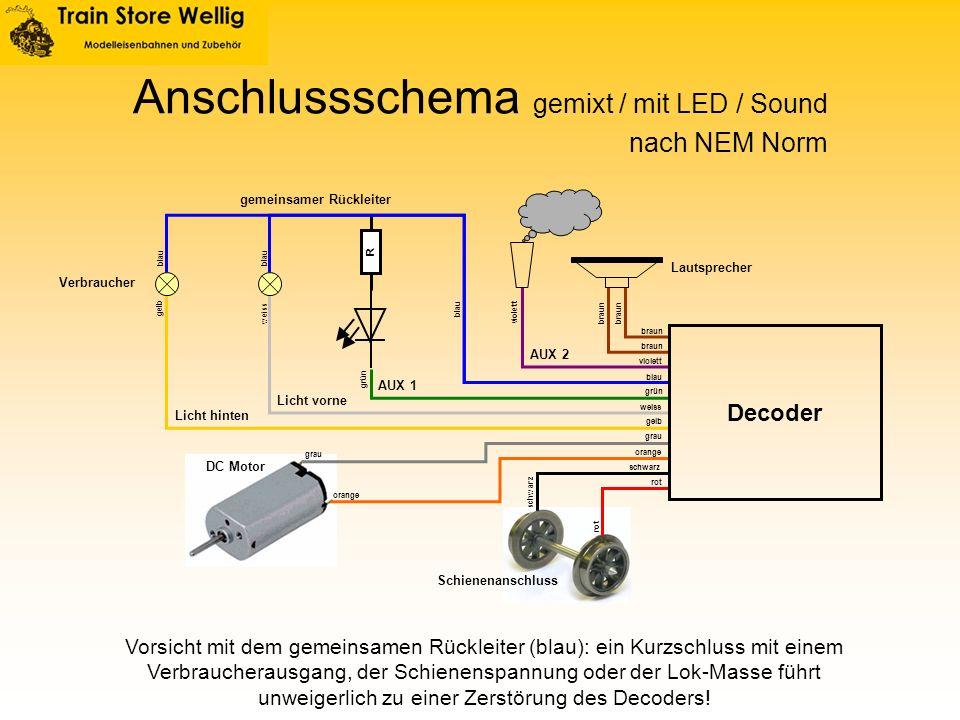 Anschlussschema gemixt / mit LED / Sound