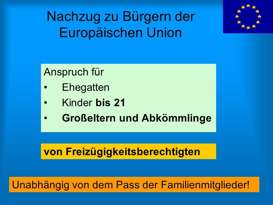 Nachzug zu Bürgern der Europäischen Union
