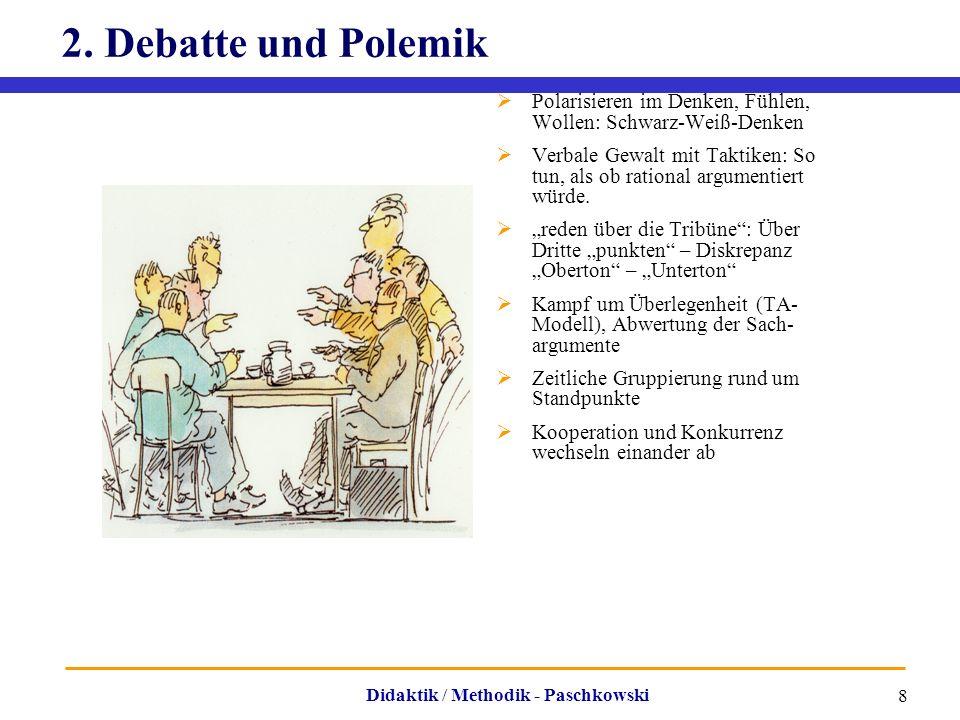 2. Debatte und Polemik Polarisieren im Denken, Fühlen, Wollen: Schwarz-Weiß-Denken.