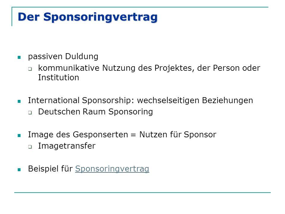 Der Sponsoringvertrag