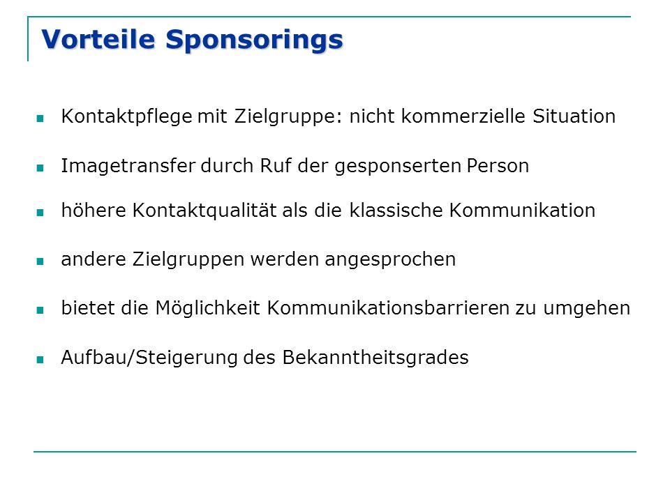 Vorteile Sponsorings Kontaktpflege mit Zielgruppe: nicht kommerzielle Situation. Imagetransfer durch Ruf der gesponserten Person.