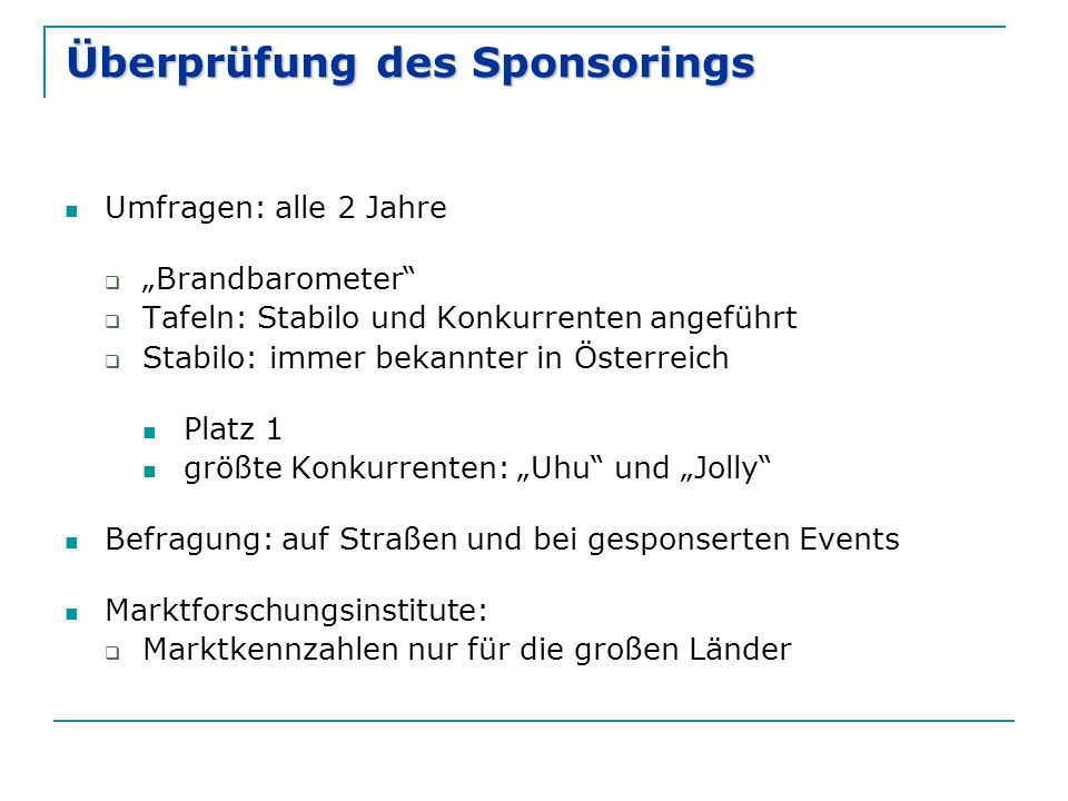 Überprüfung des Sponsorings