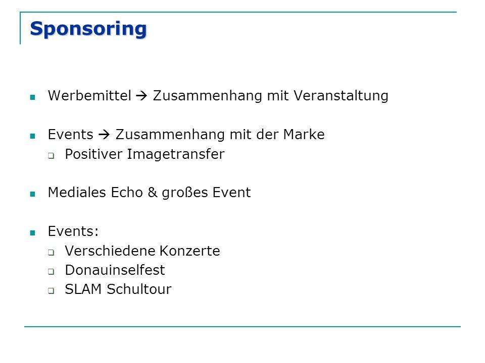 Sponsoring Werbemittel  Zusammenhang mit Veranstaltung