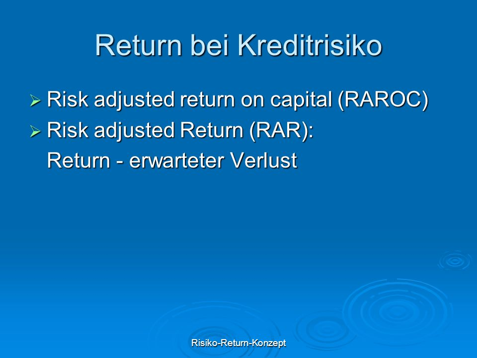 Return bei Kreditrisiko