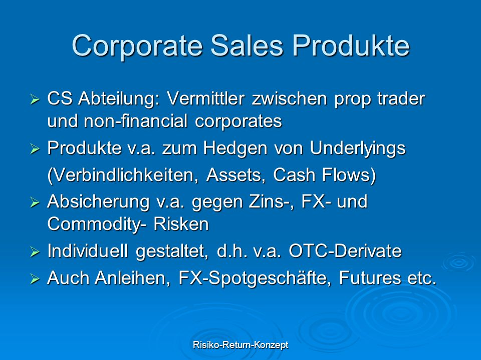 Corporate Sales Produkte