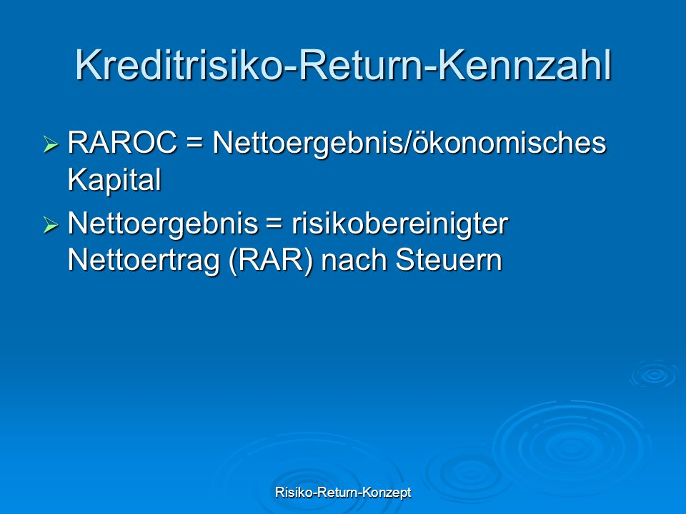 Kreditrisiko-Return-Kennzahl