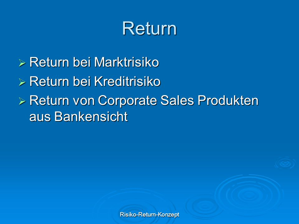Risiko-Return-Konzept