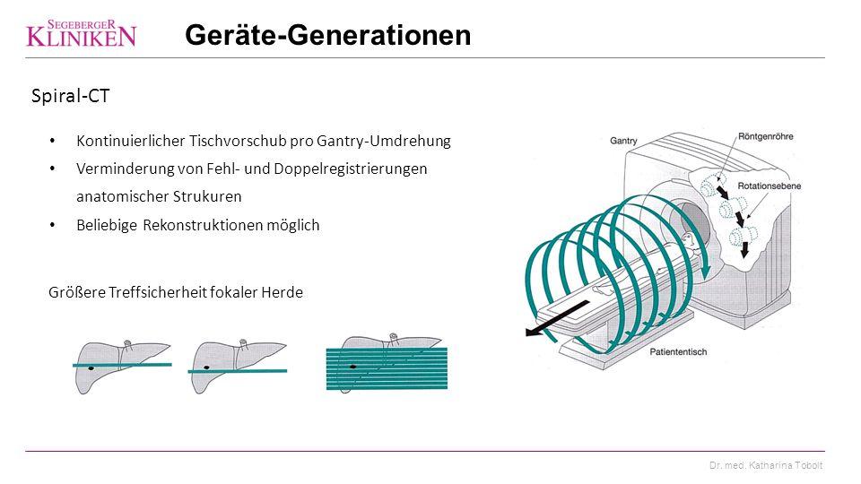 Geräte-Generationen Spiral-CT
