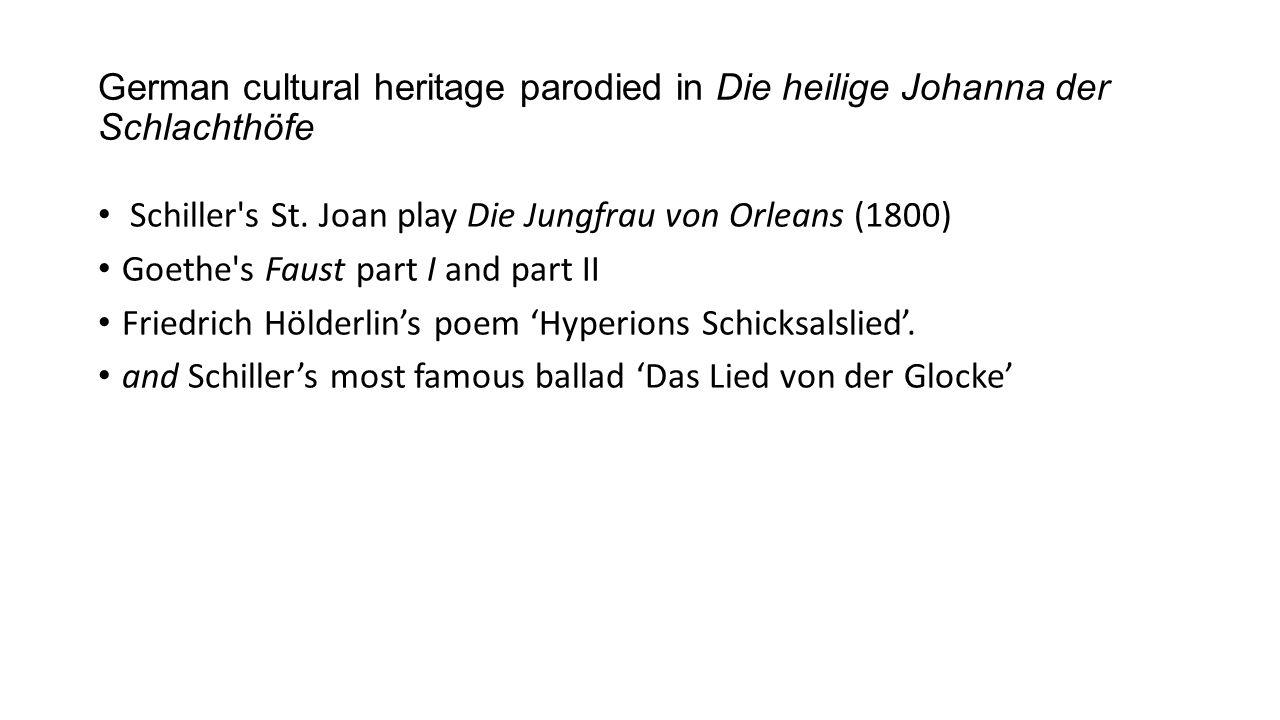 German cultural heritage parodied in Die heilige Johanna der Schlachthöfe