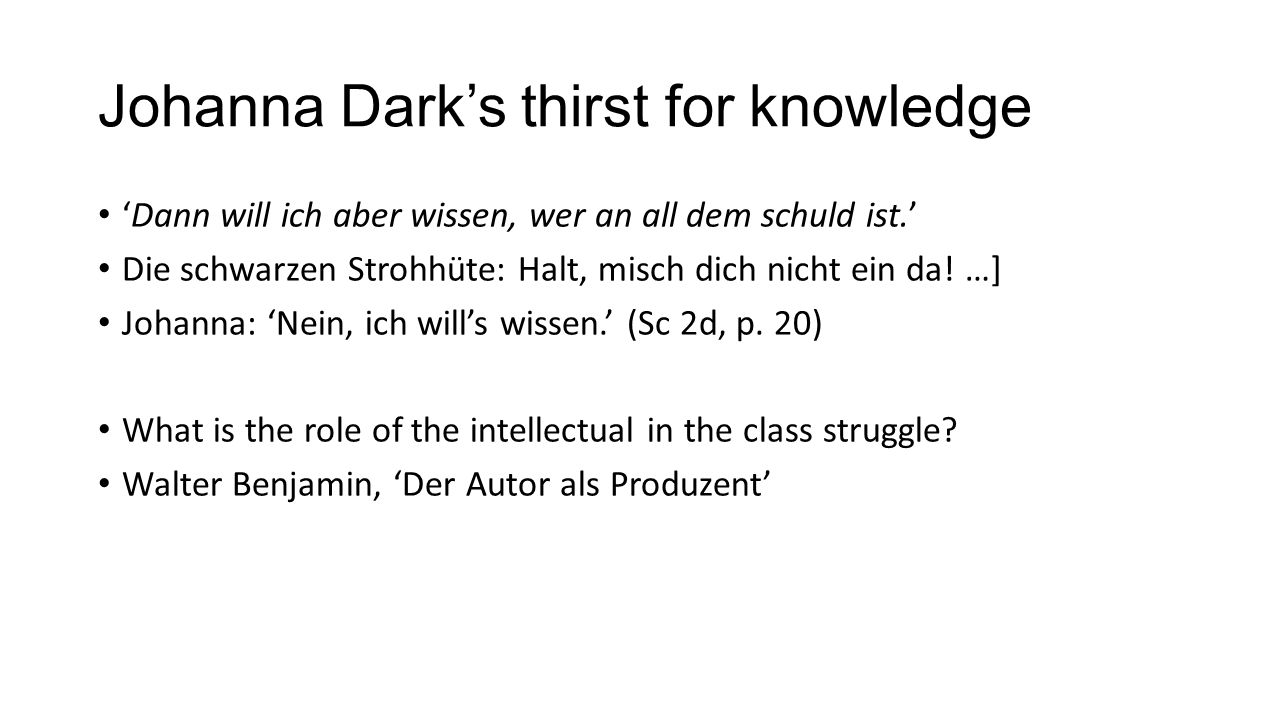 Johanna Dark's thirst for knowledge