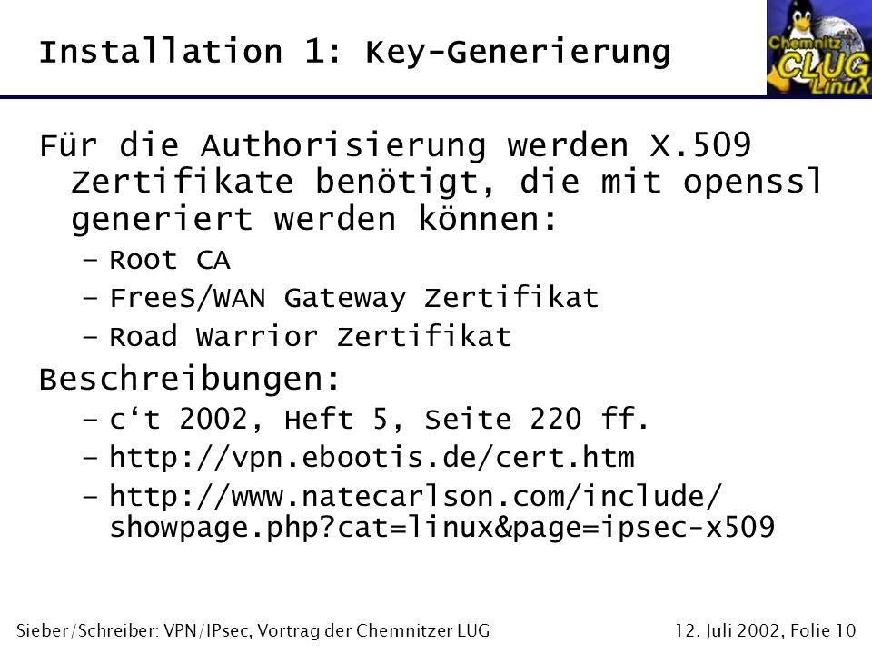 Installation 1: Key-Generierung