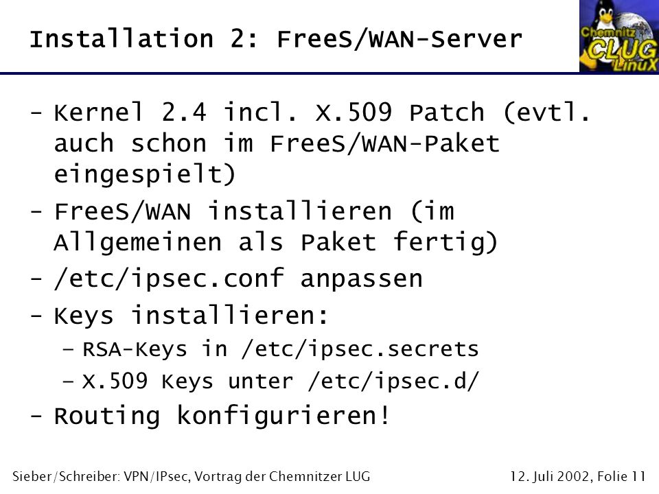 Installation 2: FreeS/WAN-Server