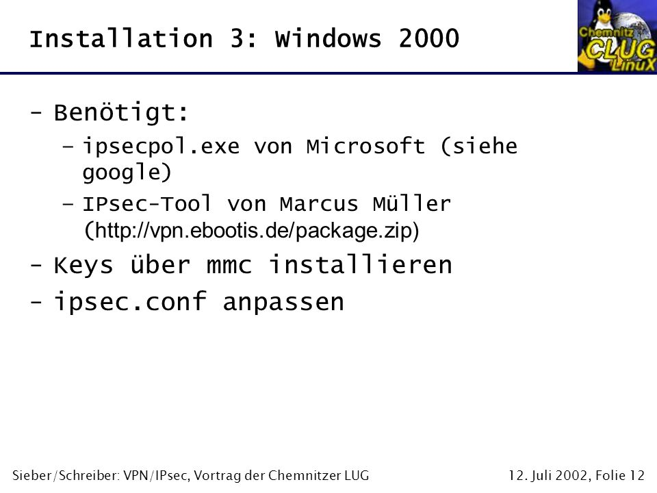 Installation 3: Windows 2000