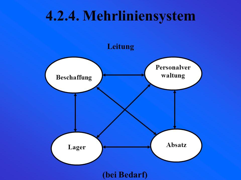 4.2.4. Mehrliniensystem (bei Bedarf) Leitung Personalverwaltung