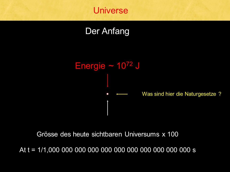 Universe Der Anfang Energie ~ 1072 J