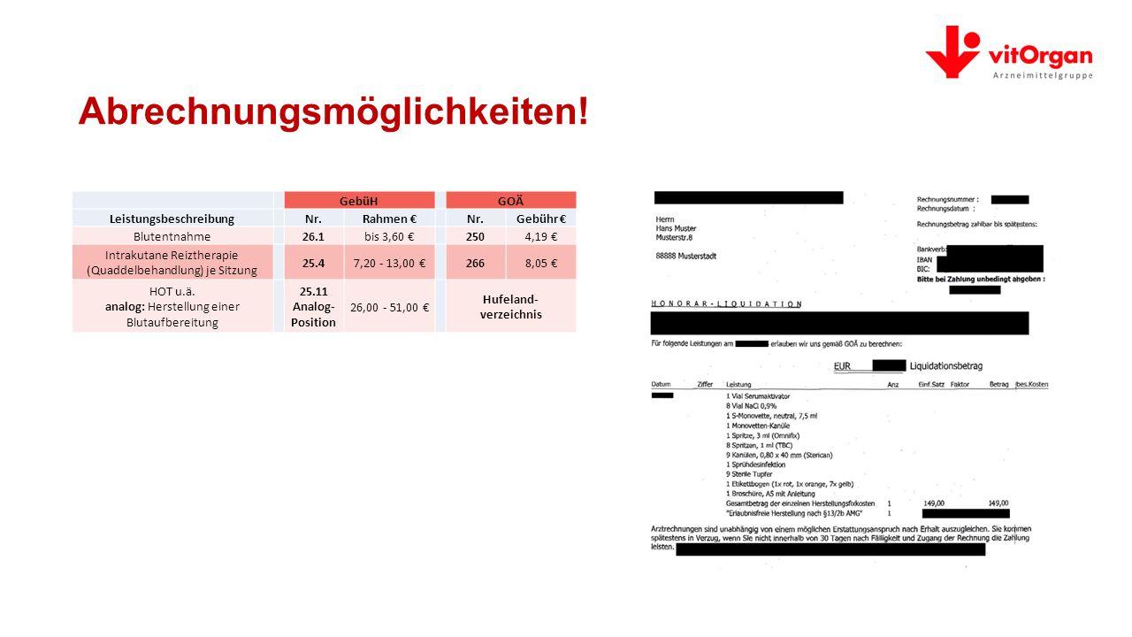Abrechnungsmöglichkeiten! Leistungsbeschreibung Hufeland- verzeichnis