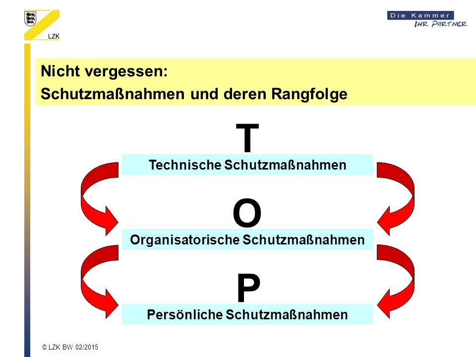 T O P Nicht vergessen: Schutzmaßnahmen und deren Rangfolge