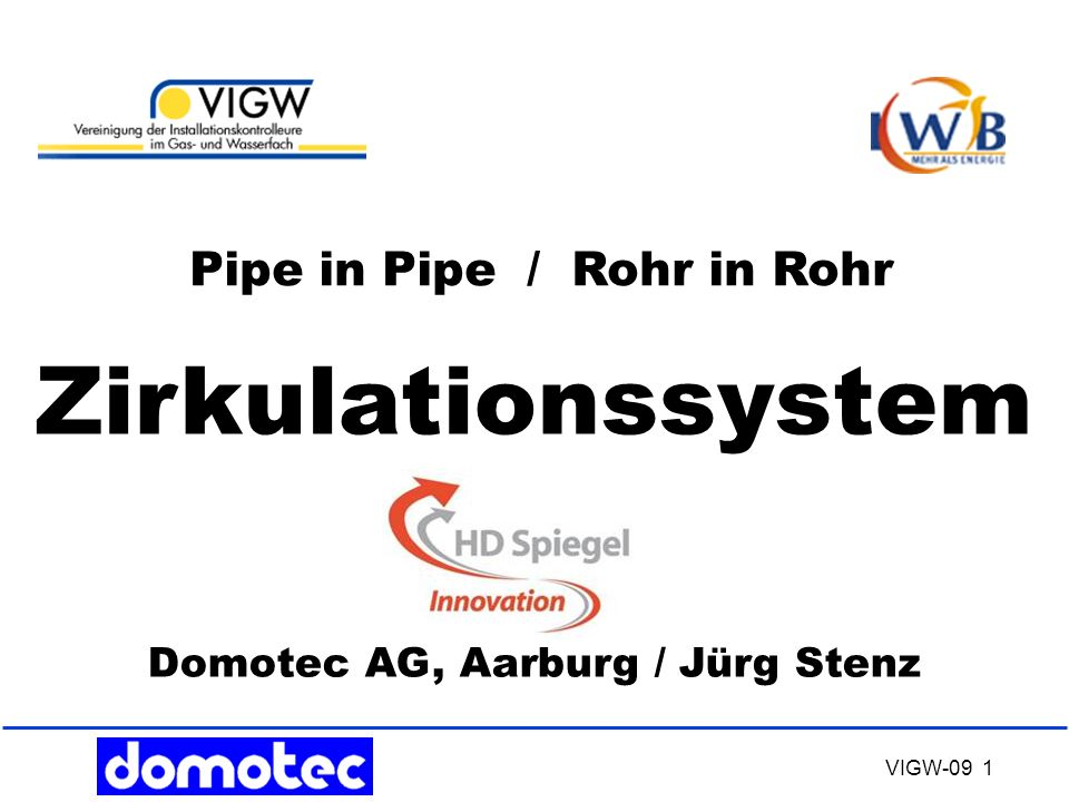 Zirkulationssystem Pipe in Pipe / Rohr in Rohr
