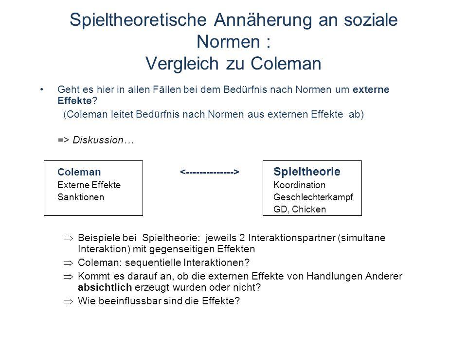 Spieltheoretische Annäherung an soziale Normen : Vergleich zu Coleman