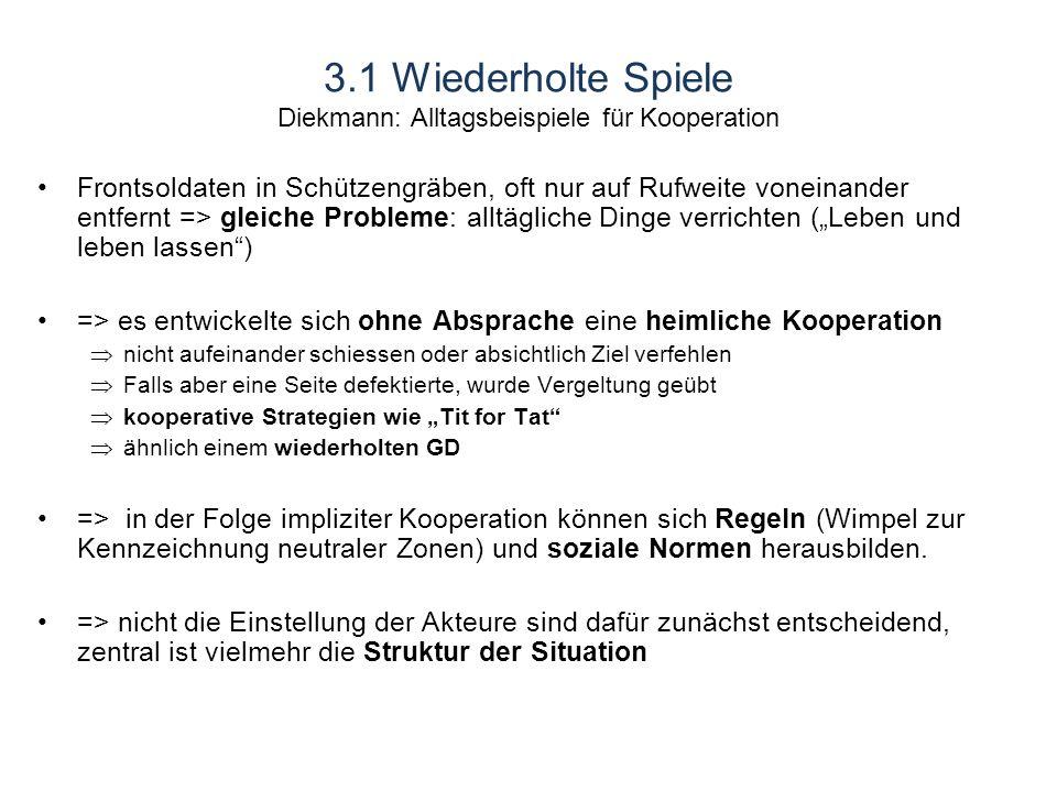 3.1 Wiederholte Spiele Diekmann: Alltagsbeispiele für Kooperation