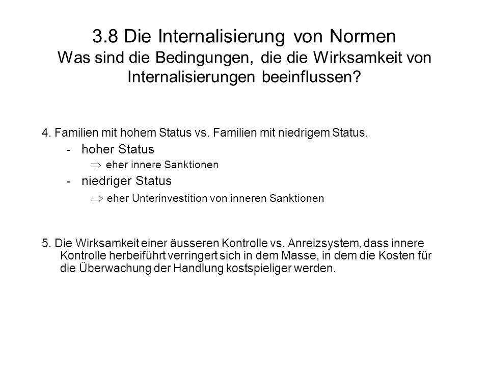 3.8 Die Internalisierung von Normen Was sind die Bedingungen, die die Wirksamkeit von Internalisierungen beeinflussen