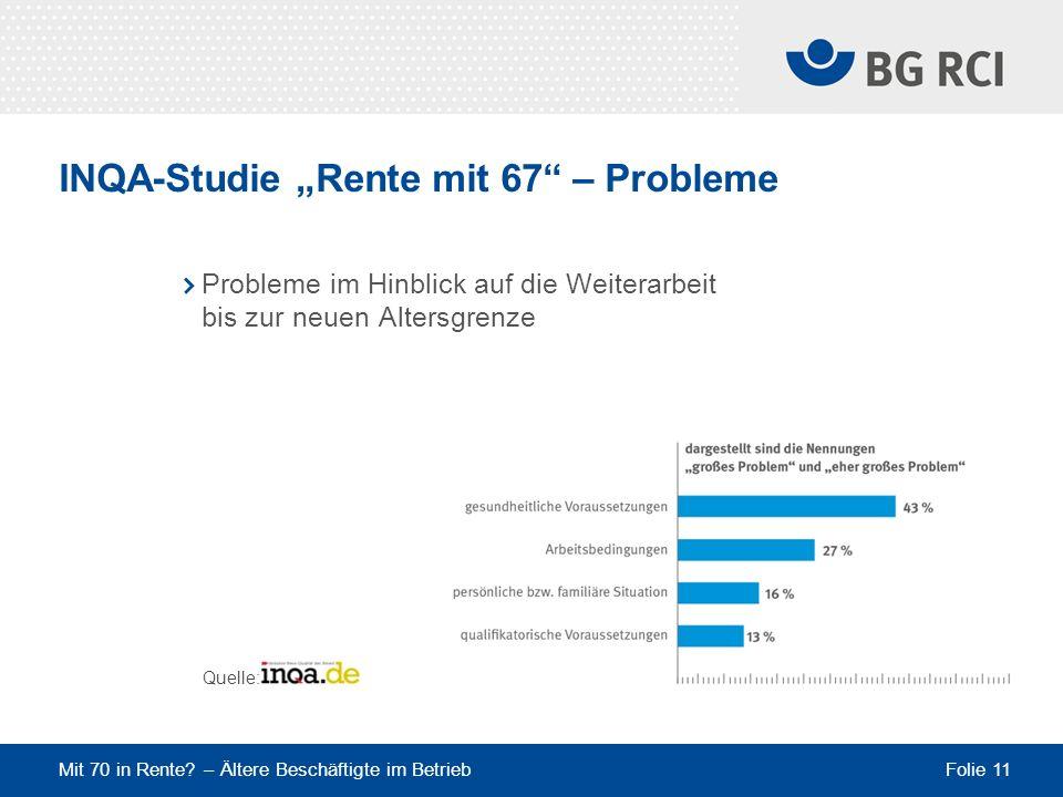 "INQA-Studie ""Rente mit 67 – Probleme"