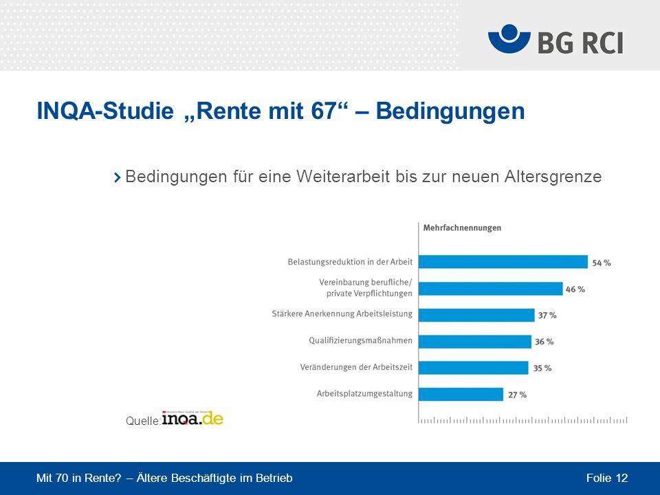 """INQA-Studie """"Rente mit 67 – Bedingungen"""