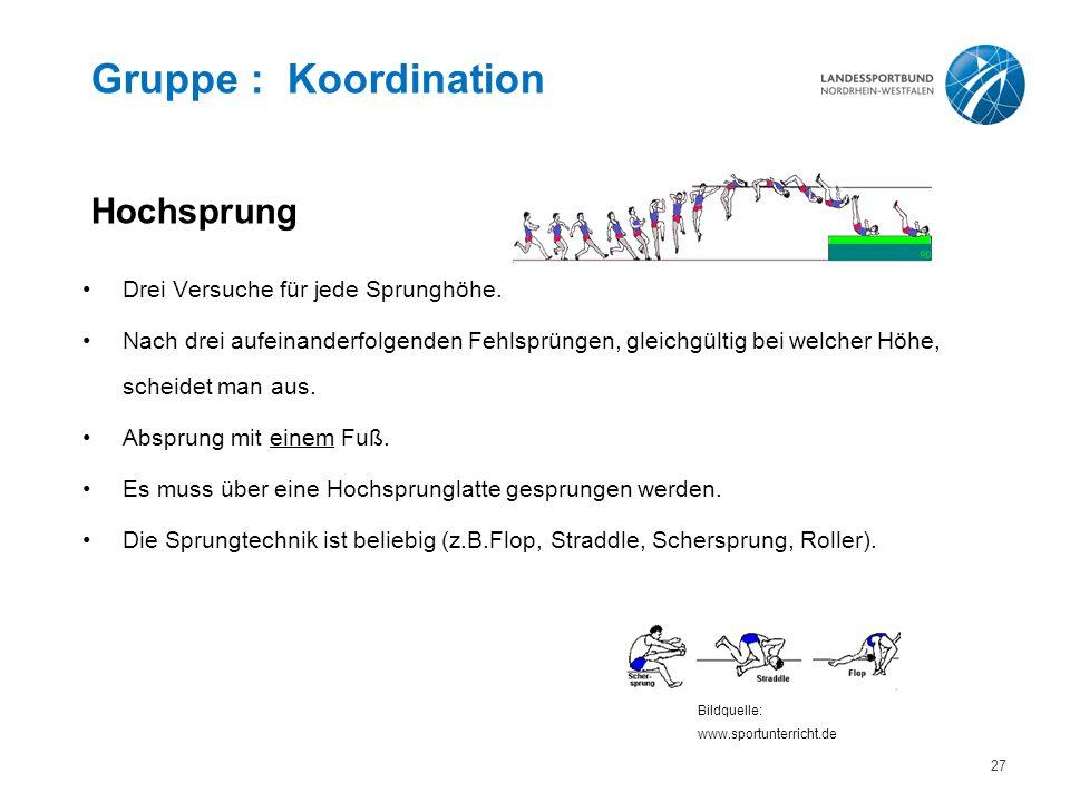 Gruppe : Koordination Hochsprung Drei Versuche für jede Sprunghöhe.