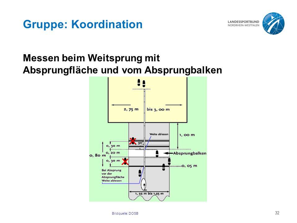 Gruppe: Koordination Messen beim Weitsprung mit Absprungfläche und vom Absprungbalken.