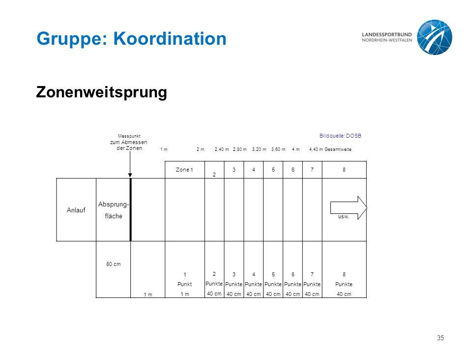 Gruppe: Koordination Zonenweitsprung Absprung- Anlauf fläche