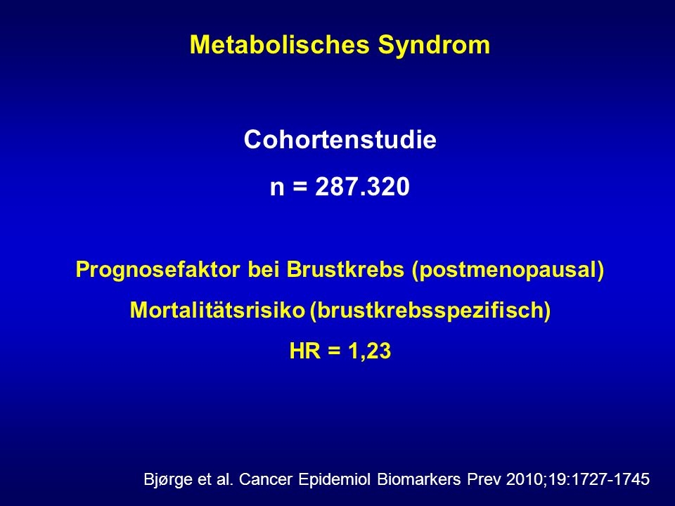 Metabolisches Syndrom Cohortenstudie n = 287.320