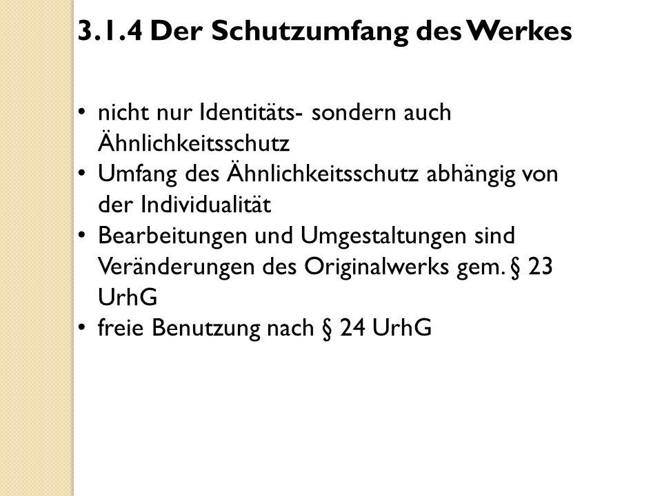 3.1.4 Der Schutzumfang des Werkes