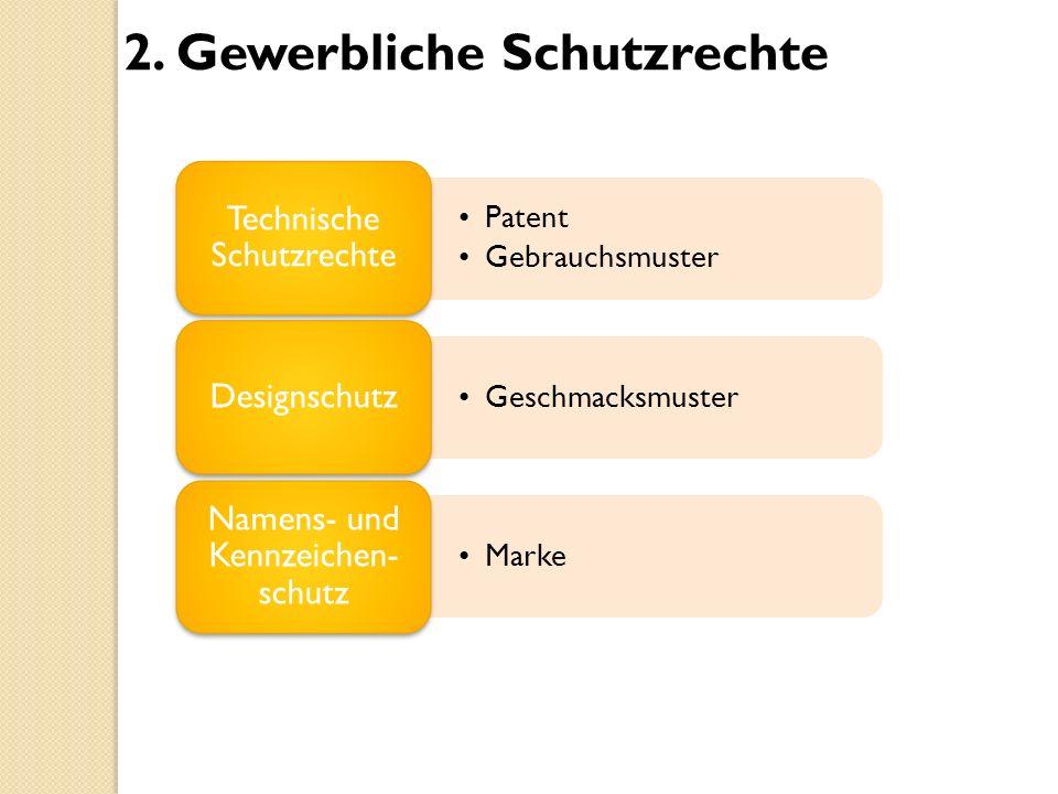 2. Gewerbliche Schutzrechte