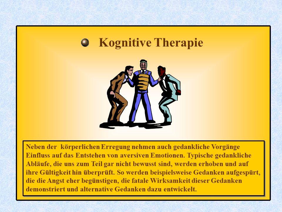 Kognitive Therapie Neben der körperlichen Erregung nehmen auch gedankliche Vorgänge.
