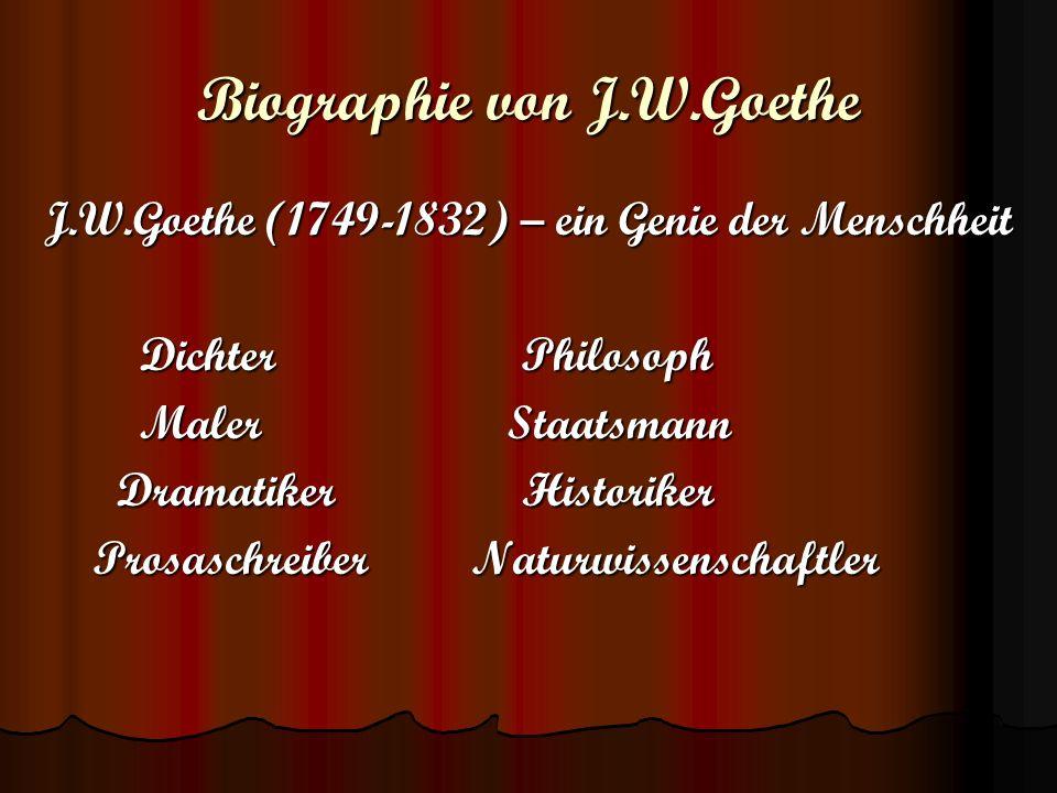 Biographie von J.W.Goethe