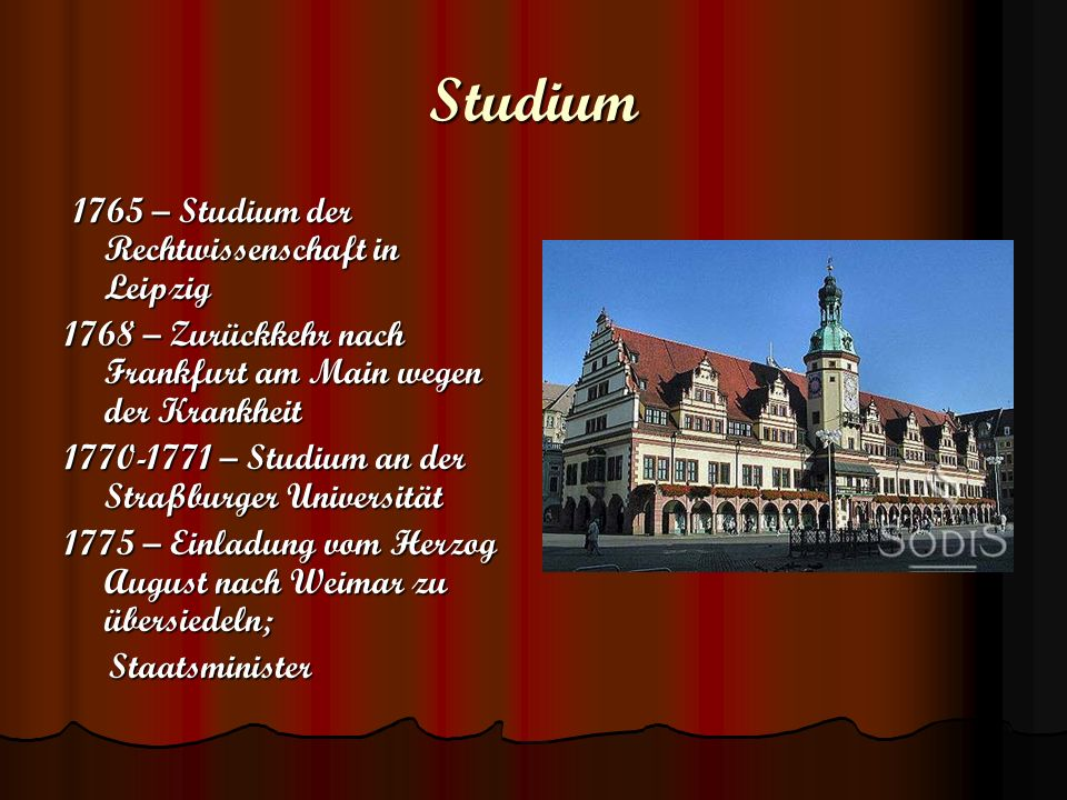Studium 1765 – Studium der Rechtwissenschaft in Leipzig