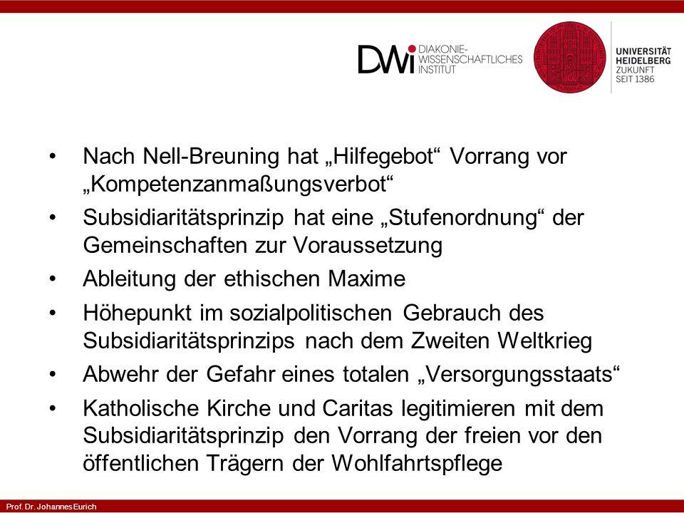 """Nach Nell-Breuning hat """"Hilfegebot Vorrang vor """"Kompetenzanmaßungsverbot"""