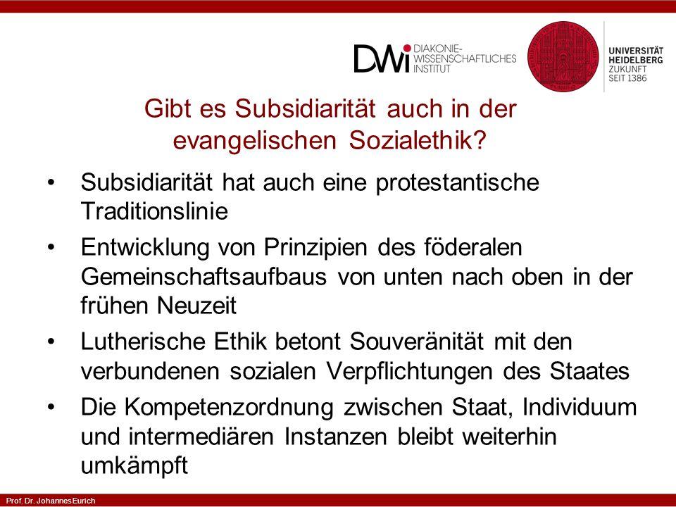 Gibt es Subsidiarität auch in der evangelischen Sozialethik
