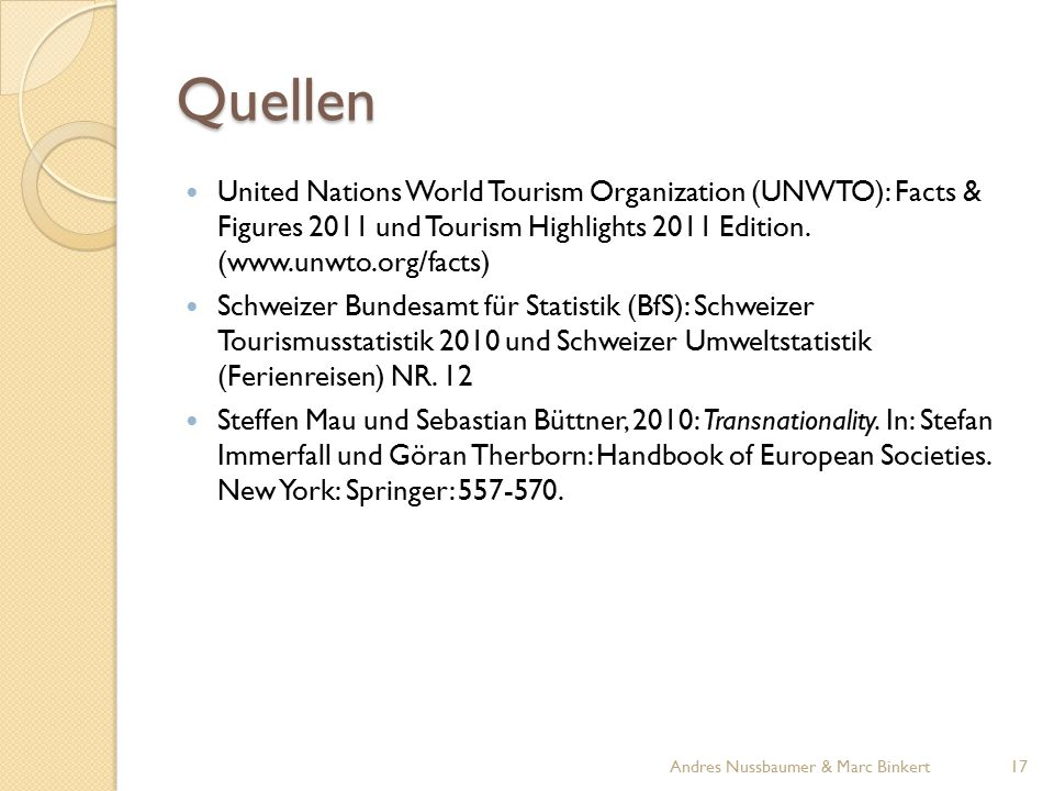 Quellen United Nations World Tourism Organization (UNWTO): Facts & Figures 2011 und Tourism Highlights 2011 Edition. (www.unwto.org/facts)