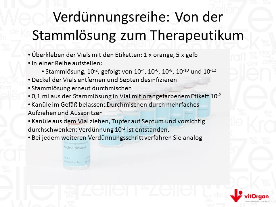 Verdünnungsreihe: Von der Stammlösung zum Therapeutikum