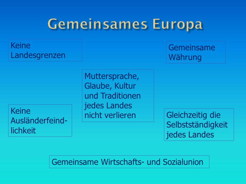 Gemeinsames Europa Keine Landesgrenzen Gemeinsame Währung