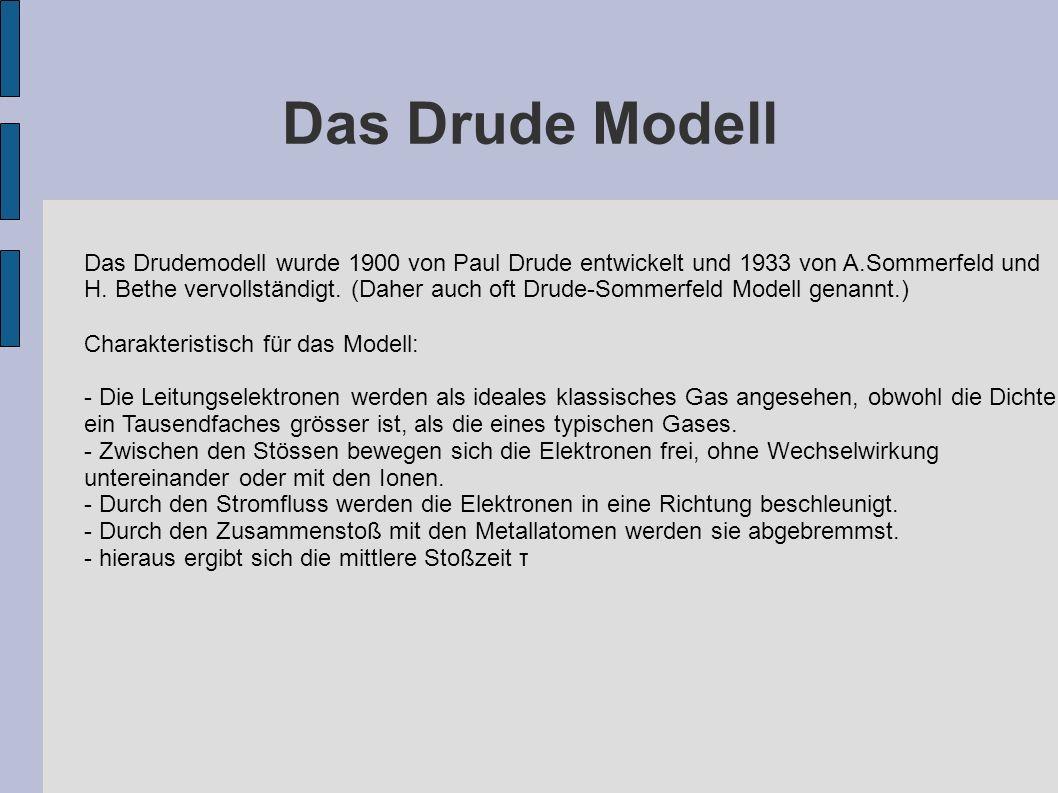 Das Drude Modell Das Drudemodell wurde 1900 von Paul Drude entwickelt und 1933 von A.Sommerfeld und.