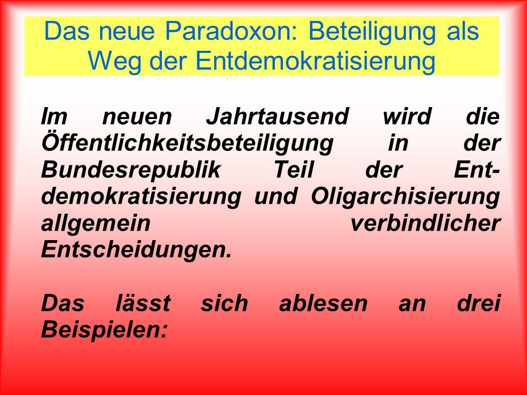 Das neue Paradoxon: Beteiligung als Weg der Entdemokratisierung