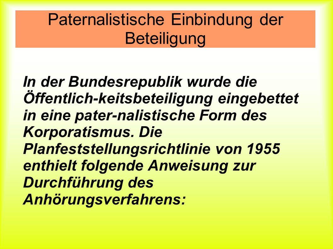 Paternalistische Einbindung der Beteiligung