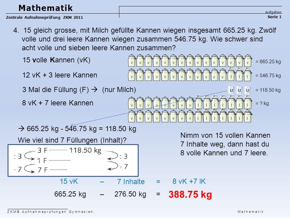 Mathematik Aufgaben. Zentrale Aufnahmeprüfung ZKM 2011. Serie 1.